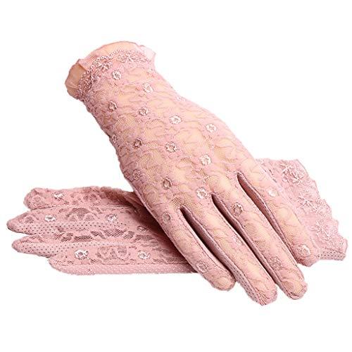 Guida Solare Bike Lace Size Finger Femminili Short Thin Summer Section Pink Pink color M Parasole Full Guanti Protezione Antiscivolo qWIEF