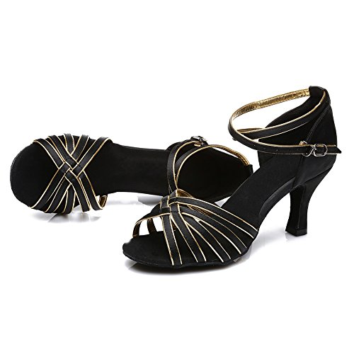 Mujer Modelo 5CM para 7CM Altura 7cm ES213 Baile HIPPOSEUS Satén del Latino oro de tacón Negro Zapatillas RqxnvB7wX