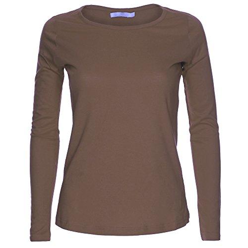 Camiseta de manga larga para mujer, cuello redondo, diseño liso Moca