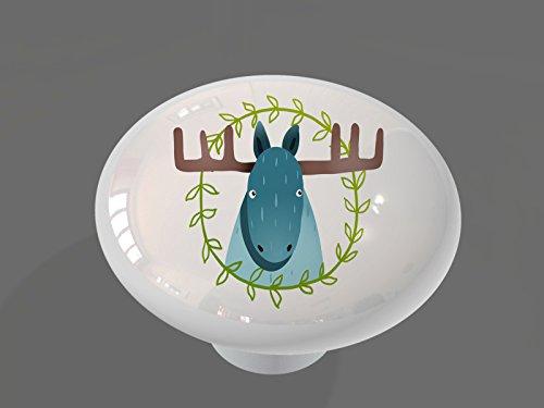 Whimsical Woodland Moose Gloss Ceramic Drawer Knob (Knobs Drawer Whimsical)