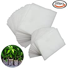 JPSOR 200Pcs Biodegradable Non-woven Nursery Bags Plant Grow Bags Fabric Seedling Pots