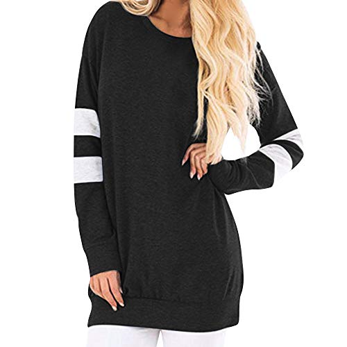 CUCUHAM Women Casual Long Sleeve Sweatshirt Pullover Long Shirt Tunic Tops Blouse(Black ,US:14/CN:2XL) ()