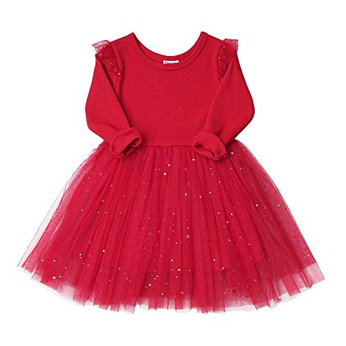 (Toddler Girls Dresses Tutu Party Sequins Stars Prints Tulle Princess Style 6m to 4t (4T, Red))