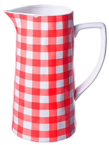 - Farmhouse Spouted Handled Casual Country - 64 Ounce - Glossy Ceramic Stoneware Pitcher, Red Gingham - 64oz