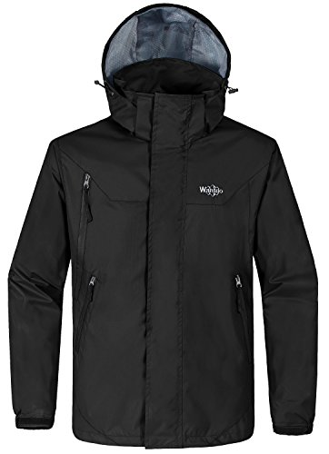 Wantdo Men's Lightweight Windproof Soft Shell Jacket With Detachable Hood Black - Jacket With Hood Cycling