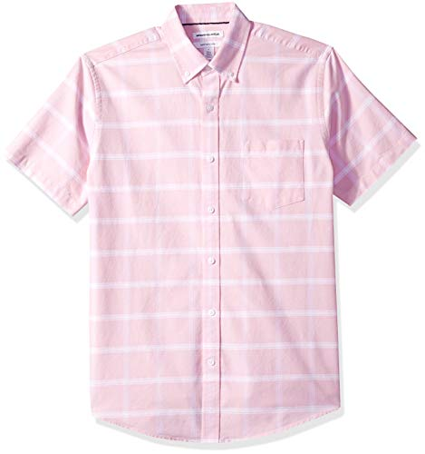 (Amazon Essentials Men's Regular-Fit Short-Sleeve Pocket Oxford Shirt, Pink Windowpane, Medium)