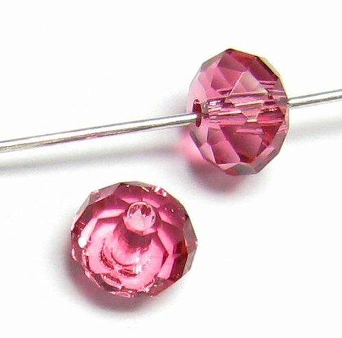 6 pcs Swarovski Crystal 5040 Briolette Rondelle Bead Spacer Indian Pink 6mm / Findings / Crystallized Element (Pink Crystal Briolette)