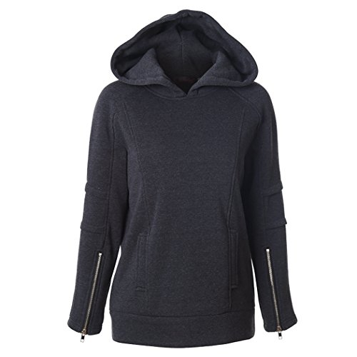 Feisen Women's Comfy Warm Hoodie Jackets Pullover Tops Blouse Black XL
