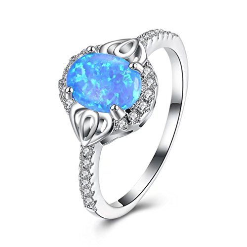 FENDINA Women's Created Blue Opal Wedding Ring CZ