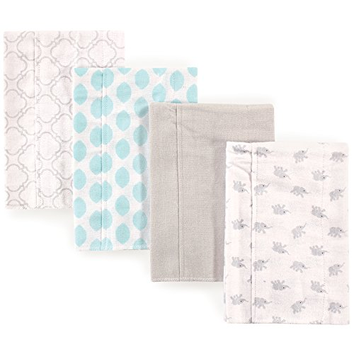 Luvable Friends  Flannel Burp Cloth, 4 Pack Accessory, elephants, One Size