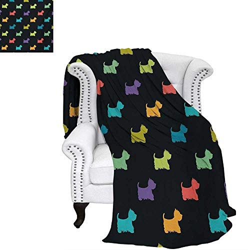 - warmfamily Dog Lover Oversized Travel Throw Cover Blanket Colorful Dog Silhouettes West Highland Terriers Canine Cartoon Style Animal Fun Super Soft Lightweight Blanket 60