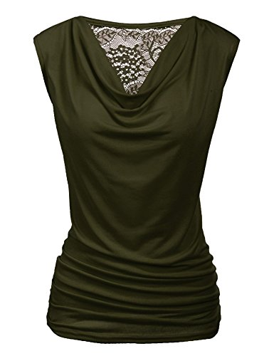 (Zeagoo Womens Ruched Cowl Neck Tank Tops Sleeveless Stretch Blouse with Side Shirring Olive Green)