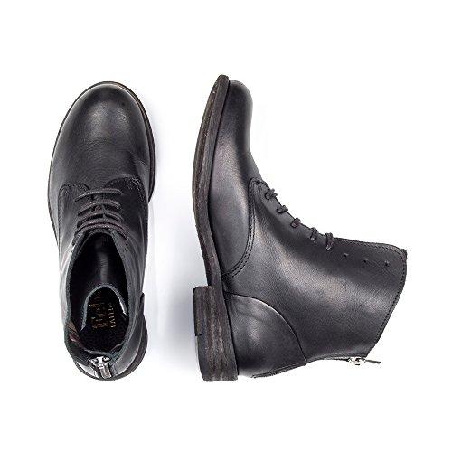 Felmini - Damen Schuhe - Verlieben Bomber 8497 - Schnüren Sie sich oben Stiefel - Echtes Leather - Schwarz- EU:40