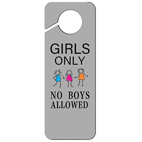 sth fun. White Graphics and More Stop Do Not Disturb Sign Plastic Door Knob Hanger Sign Girls Only No Boys Allowed-1 ()