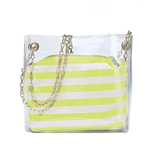 Composite Bags Pcs 2 Yellow Bags Transparent Striped Jelly Shoulder Black 0tAxqPA