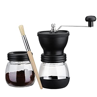 Manual Coffee Grinder with Storage Jar ,Soft brush -Storage Capacity 350 mL Ceramic Coffee Mill, Hand Ground Coffee Beans Taste Best, Adjustable Grind, Conical Ceramic Burr Quiet and Portable by SEASEA