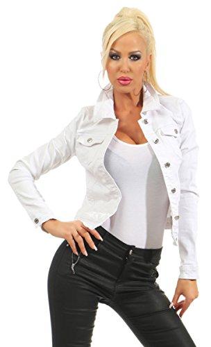 Femme Jean En Blouson Noir Fashion4young Weiß Veste wZq1CIxv