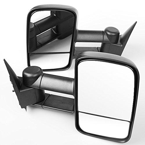 Telescoping Trailer Tow Mirror (US For 2003-2007 GMC Sierra Chevy Silverado Textured Manual Telescoping Tow Mirror)