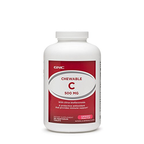 GNC Chewable C 500mg with Bioflavonoids Vitamin C, Chewable Mixed Fruit