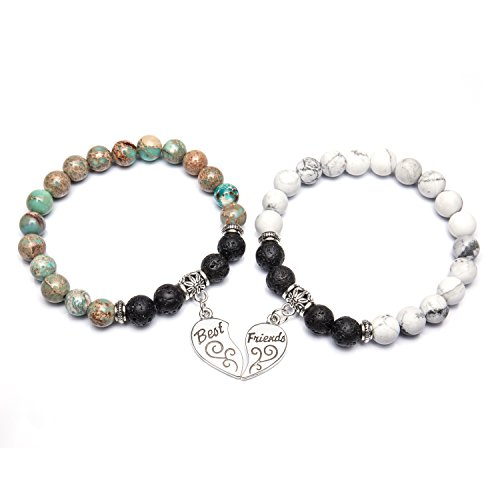 Bivei Best Friends Bracelets for 2 - Gemstone Round Beads Lava Stone Diffuser Heart Charm Friendship Bracelets(Variscite+White (Round Friendship Bracelets)