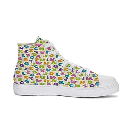 Kids Durable High Top Canvas Shoes,Cute Funny Letters in Lively Colors Cartoon Style ABC Alphabet on Polka Dots Backdrop Decorative for Men,US 10.5 -