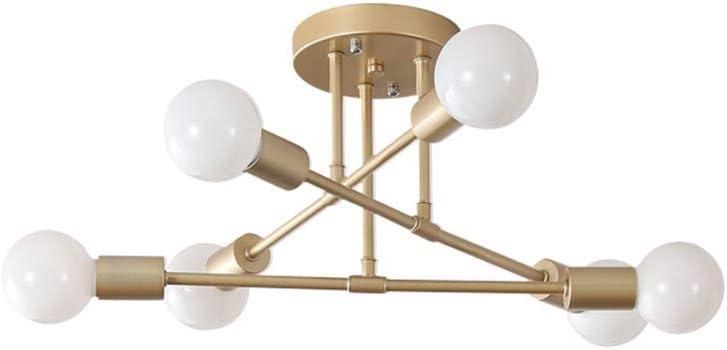 PoJu 6 Head Ceiling Chandelier Lámpara de techo Semi-Satélite Modern Pendant Lamp Mid Century para el dormitorio Sala de estar Comedor Bar Corridor E27 (Color : Gold) Gold