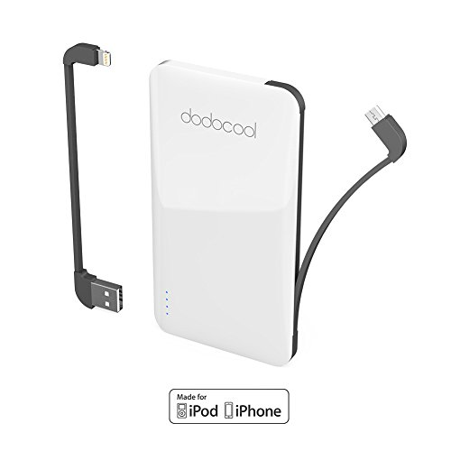 dodocool 5000 mAh Power Bank, 2-Port Ultra Slim Portbale Power with Micro-USB Cable and Lightning Cable for iPhone X /8 Plus /8 /7 Plus /7 /iPhone SE /Samsung and more (MFI Certified)