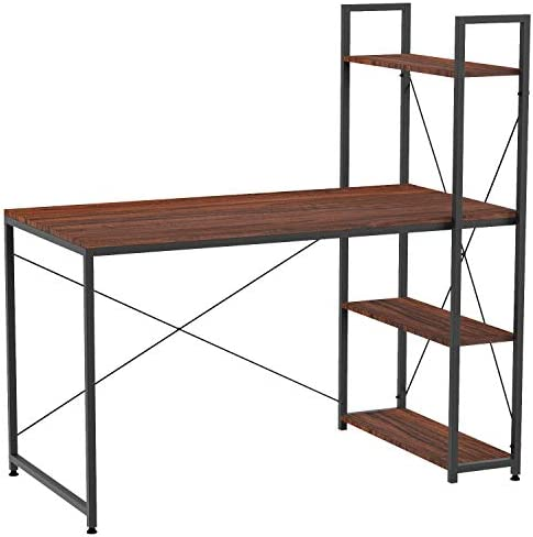 IRONCK Computer Desk 47 with Bookshelf, Industrial Home Office Desk, Wood Writing Desk, Space-Saving, Easy Assembly