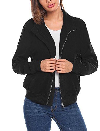 Bomber Fleece - bubblebelle Women's Fleece Coat Full-Zip Stand Collar Bomber Jacket Black S