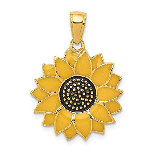 14k Yellow Gold Enameled Sunflower Pendant Charm Necklace Flower Gardening Fine Jewelry Gifts For Women For Her 14k Gold Gardening Charm