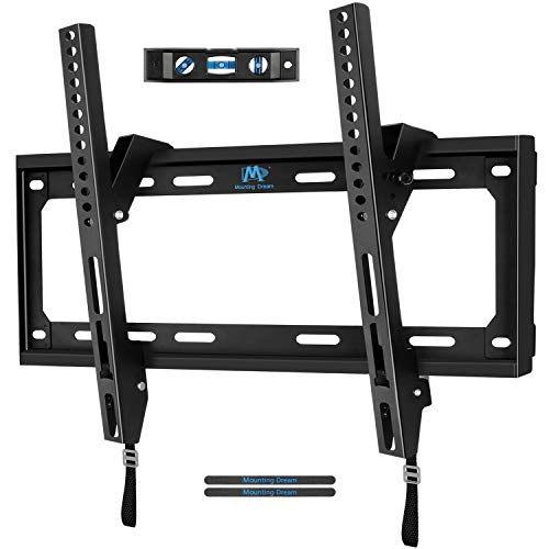 (Mounting Dream TV Wall Mount Tilting Bracket for 26-55 Inch LED, LCD TVs up to VESA 400 x 400mm and 88 LBS Loading Capacity, TV Mount with Unique Strap Design for Easily Lock and Release MD2268-MK)