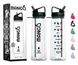 Mango Sports Motivational Water Bottle With Straw and Times To drink - BPA...
