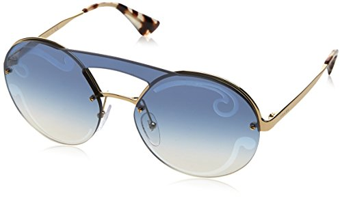 Prada Women's 0PR 65TS Pale Gold Baroque/Pale Gold - Sunglasses Round Baroque