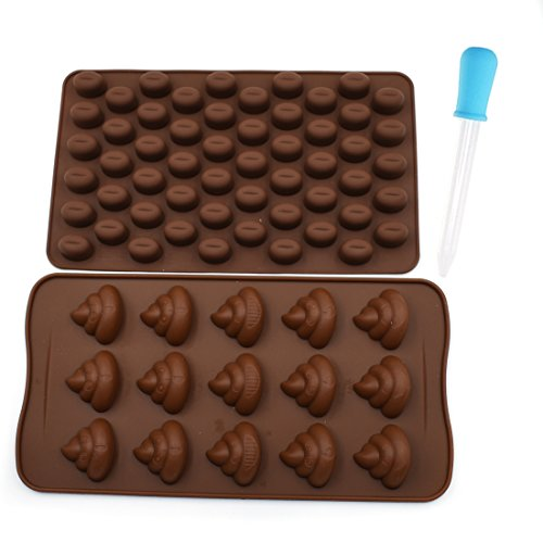 LDODO Funny Poop Emoji Mold And Chocolate Bean Mold Silicone