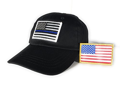 Pennant Cap (Tactical Thin Blue Line and Full Color American Flag Hook/Loop Patches with Black Operator Cap)