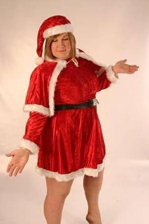 Ladies Fancy Dress Costume Mrs Father Christmas Santa Plus Size