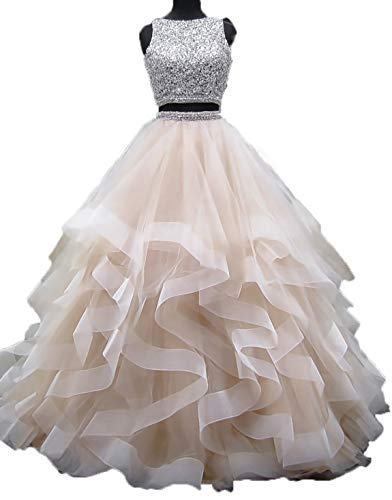 (Bonnie Gorgeous Beaded Bodice Prom Dresses 2018 Long 2 Piece Sexy Open Back Ball Gowns Ruffled Tulle Formal Evening Dress)