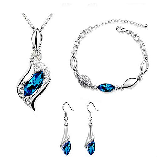 Snowfoller Peridot Sapphire Necklace + Drop Earring + Bracelets Jewelry Set for Wedding/Party/Prom Necklace(Blue)