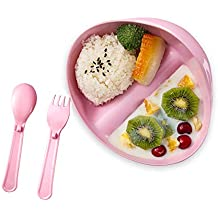 GNGS Meal Serving Set for Kids | 3 Piece Set of Divided Plate, Spoon and Fork | BPA free PLA Dinnerware Set | Cereal, Fruit, Veggie, Staple, Snack, Sauce Bowl | Dishwasher and Microwave Safe, Pink