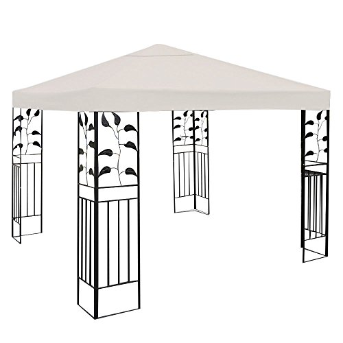 Tangkula 10' X 10' Gazebo Top Cover Patio Canopy Replacement 1-Tier or 2-Tier 3 Color (1-Tier, Beige)