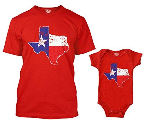 Texas State Map Matching Bodysuit & Men's T-Shirt (Red/Red, Large/Newborn)