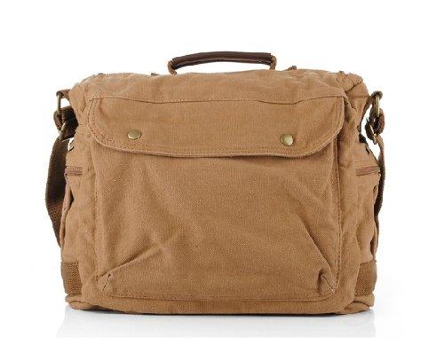 YSYT Deal S.C. algodón nuevo hombres mujeres cruz cuerpo Retro Moda Causual estilo mensajero lienzo Caqui bolso bandolera escuela bolsa de viaje cámara réflex digital bolsa de lona tamaño: 36cm x 32