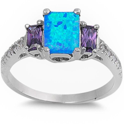 Best Seller Lab Created Blue Opal, Simulated Amethyst & Cz .925 Sterling Silver Ring Size 9