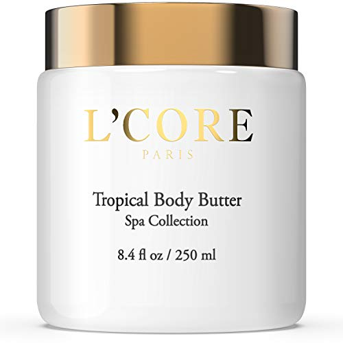 (L'Core Paris Tropical Body Butter with Rich Cocoa Seed Extract - Moisturizing & Hydrating Body Cream - Anti-Aging Antioxidants Natural Cellulite & Stretch Mark Control - 8.4 fl oz/250ml)