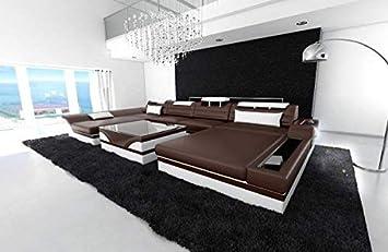 Sofa Dreams Leder Wohnlandschaft Monza U Form Dunkelbraun Weiss