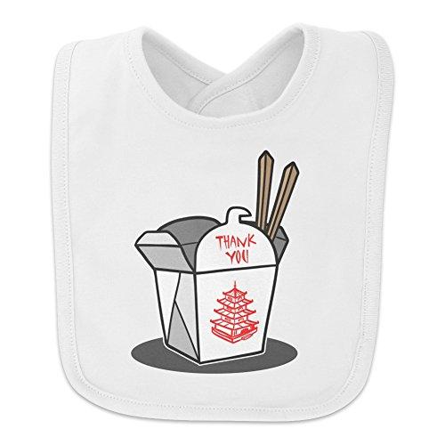 - Chinese Food Takeout Box with Chopsticks Baby Bib - White