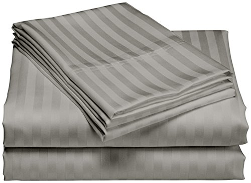 Home Sweet Home Dreams Inc 1200 Thread Count 100% Egyptian Cotton Superior Wrinkle Resistant 4PC Stripe Bed Sheet Set (King, Gray)