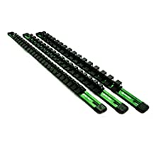 Green Socket Organizer 3 Pack 1/2, 3/8, 1/4 Inch Drive | 18, 20, and 24 Clips | Professional Grade Heavy Duty 17 Inch Anodized Aluminum Build | Max Amount of Clips Included | By Mod-Box