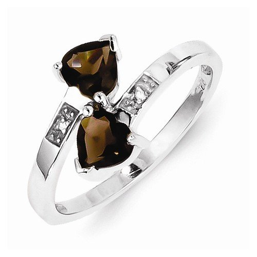 925 Sterling Silver Brown Simulated Smokey Quartz & Diamond Love Heart Engagement Ring (.01 cttw.) (2mm)