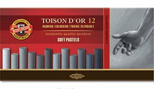 KOH-I-NOOR TOISON D'OR 8522 Weiche Künstler-Pastellkreiden in Grautönen (12 Stück)
